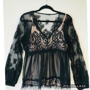 Venus | Black Lace Empire Waist Top
